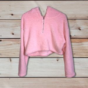 Pink Fuzzy Cropped Quarter Zip Hoodie Pullover